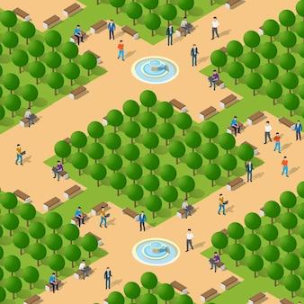 Personnes isométriques marchant sur un mode de vie socialisant dans un environnement urbain dans un parc avec des bancs et des arbres, rue