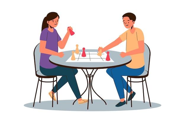 Personnes jouant au jeu de ludo
