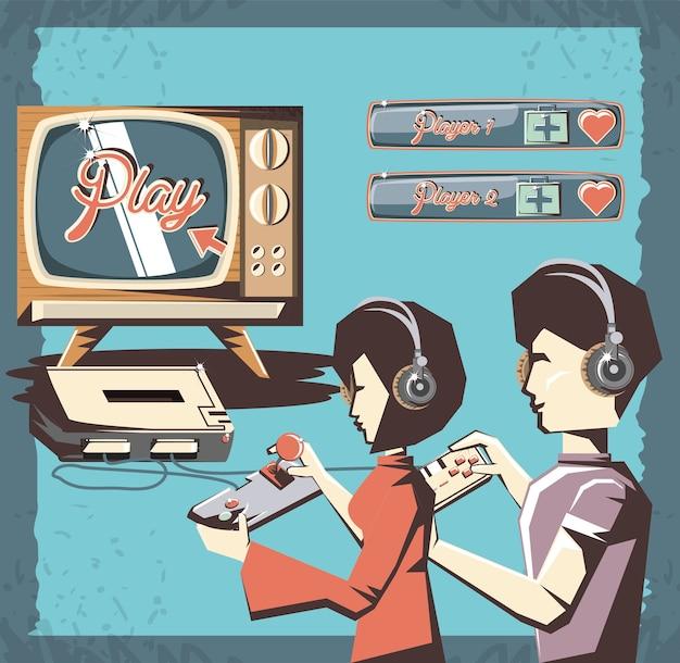 Personnes jouant au jeu vidéo rétro vector illustration design