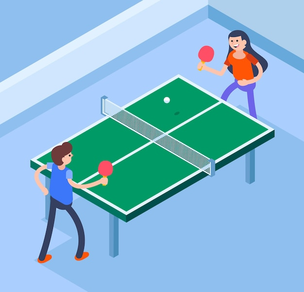 Personnes jouant au tennis de table illustration