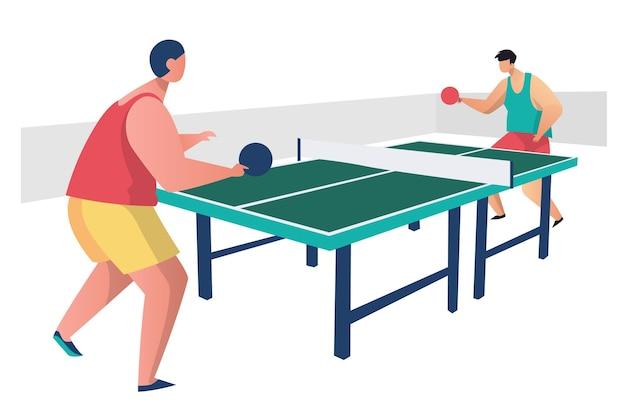 Personnes jouant au tennis de table