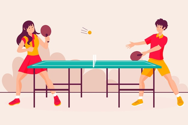 Personnes jouant au tennis de table