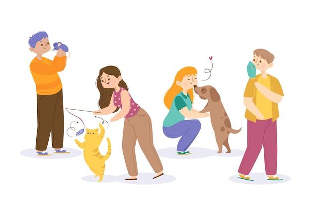 Personnes jouant avec différents animaux de compagnie