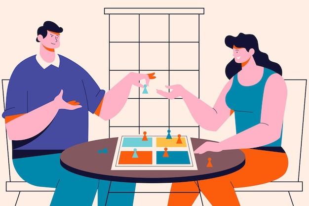 Personnes jouant à l'illustration du jeu ludo