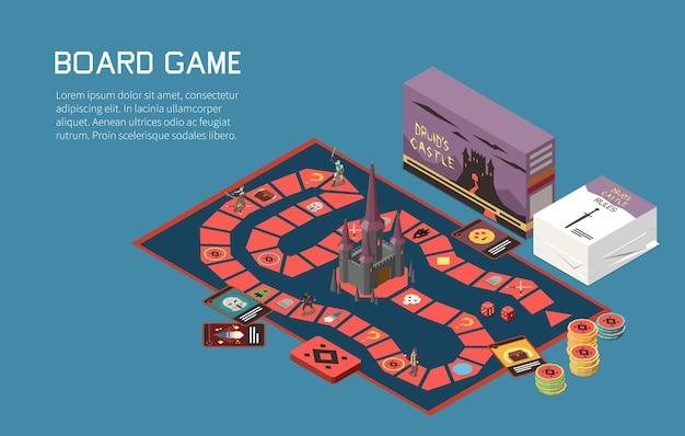 Personnes jouant à des jeux de société composition isométrique avec texte et jeu de bureau avec cartes et jetons colorés