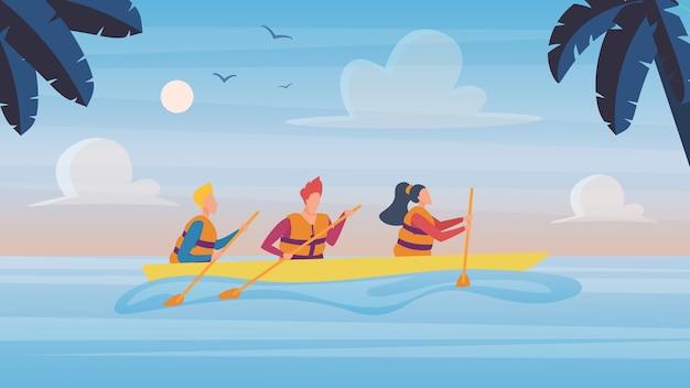 Personnes en kayak dans un paysage naturel tropical