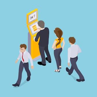 Personnes en ligne devant le terminal de paiement
