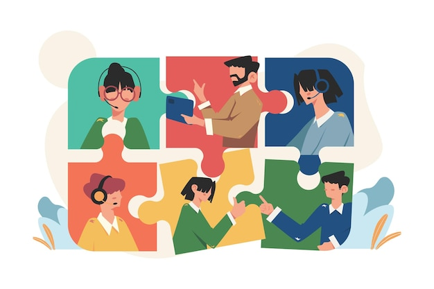 Personnes en ligne reliant des éléments de puzzle social