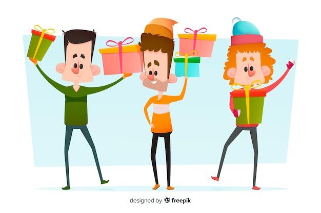 Personnes avec de longues jambes tenant des cadeaux