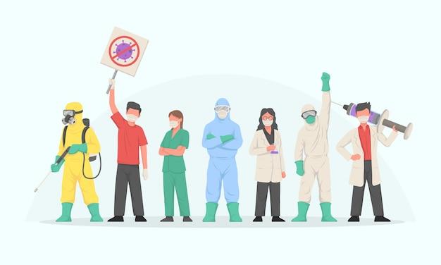 Personnes luttant contre le virus corona