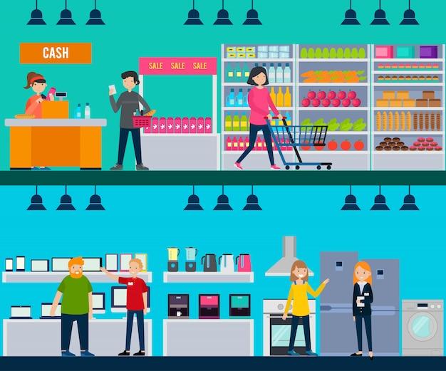 Personnes en magasin bannières horizontales