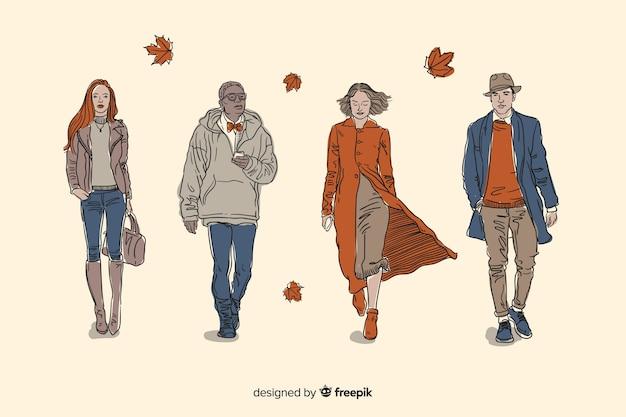 Personnes marchant en automne collectio