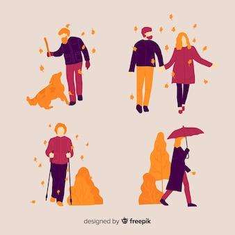 Personnes marchant en automne
