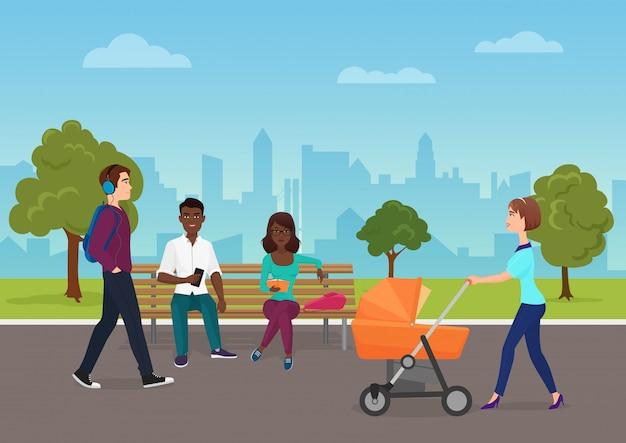 Personnes marchant dans le parc public de la ville