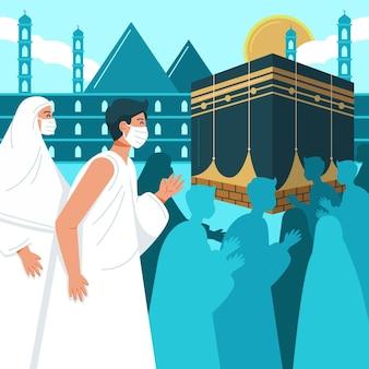 Personnes avec masque facial en illustration de pèlerinage hajj