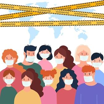 Personnes en masque facial médical blanc ensemble de concept d'illustration de quarantaine de coronavirus