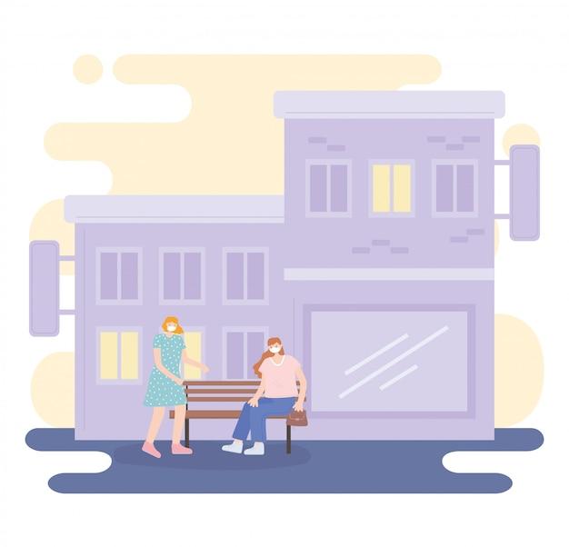 Personnes avec masque médical, femmes assises sur un banc dans la rue