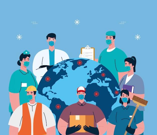 Personnes avec des masques de travail d'uniformes et une carte du monde de l'illustration du thème des travailleurs du coronavirus