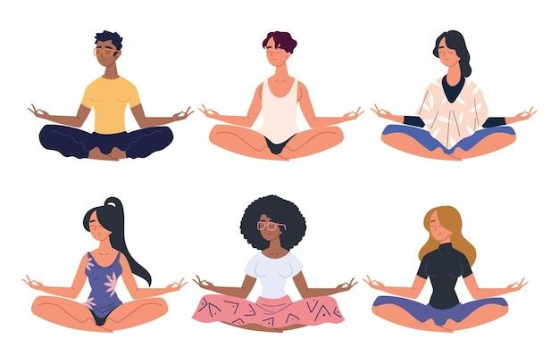 Personnes méditant en posture de lotus