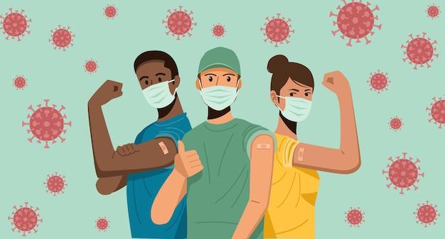 Personnes montrant leurs armes après avoir été vaccinées contre le covid-19