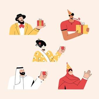 Personnes multiculturelles célébrant un ensemble de vacances ou d'anniversaire