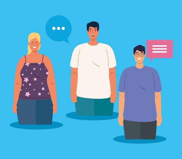 Personnes multiethniques parlant, concept culturel et de diversité