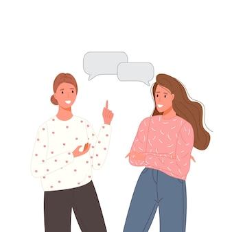 Des personnes multiethniques parlent ou discutent du réseau social. deux amis parlant des couples avec des bulles. concept de dialogue de personnage.