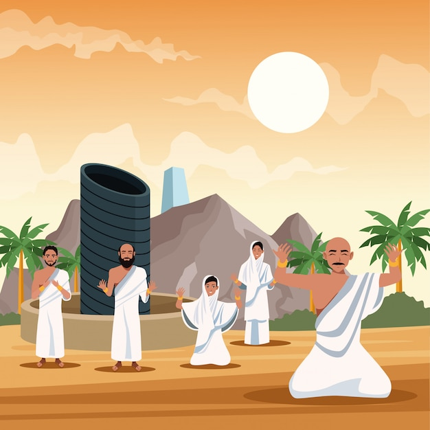 Personnes musulmanes dans le hajj mabrur voyage célébration vector illustration design