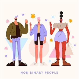 Personnes non binaires plates organiques illustrées