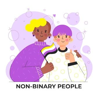 Personnes non binaires plates organiques
