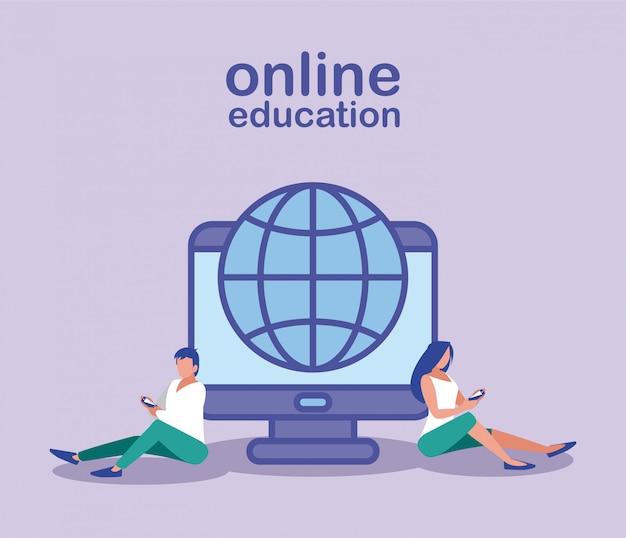 Personnes avec ordinateur et navigateur de sphère, éducation en ligne