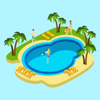 Personnes, à, parc aquatique, illustration