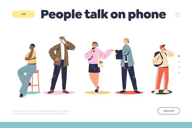 Personnes parlant au téléphone concept de page de destination avec des dessins animés parlant sur des smartphones