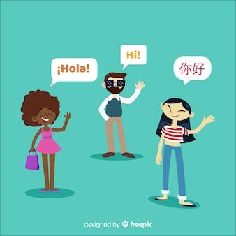 Personnes parlant des langues différentes avec un design plat