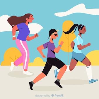Personnes participant à une course de marathon
