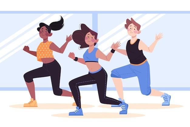 Personnes participant ensemble à un cours de danse fitness