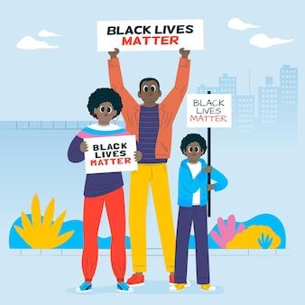 Les personnes participant ensemble à une grève de la vie noire comptent