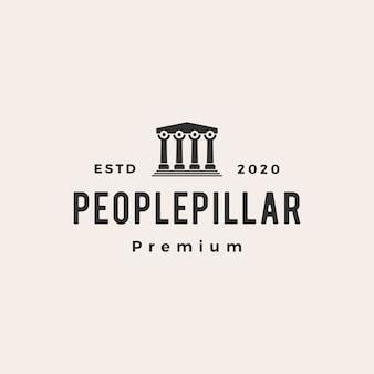 Personnes pilier hipster logo vintage icône illustration