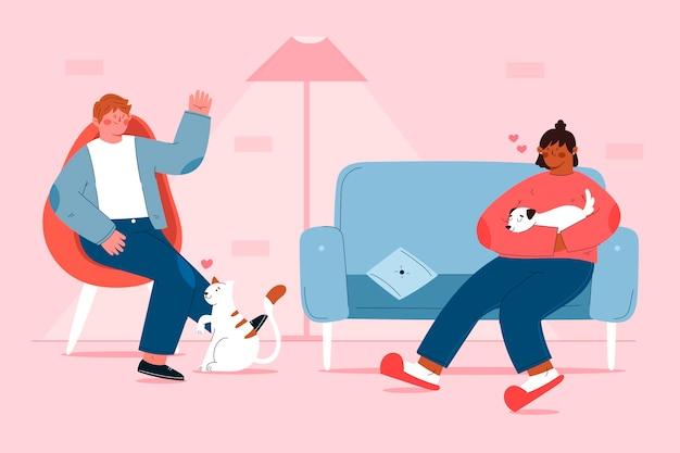 Personnes plates avec des animaux domestiques à la maison