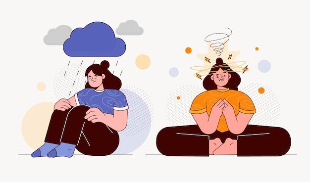 Personnes plates ayant des problèmes de santé mentale