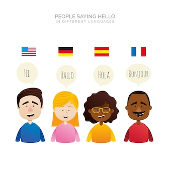 Personnes plates avec des bulles dans différentes langues