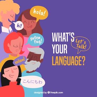 Personnes plates avec des mots dans différentes langues