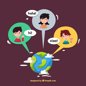 Personnes plates parlant différentes langues