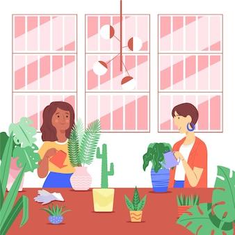 Personnes plates prenant soin de la collection de plantes
