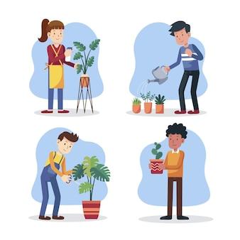 Personnes plates prenant soin de l'ensemble des plantes