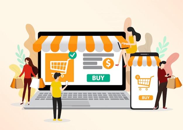 Personnes plates et professionnels modernes pour m-commerce, faciles à utiliser et hautement personnalisables.