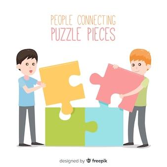 Personnes plates reliant des pièces de puzzle fond