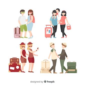 Personnes plates voyageant dans des situations différentes