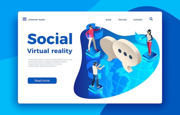 Les personnes portant un casque virtuel. futur augmenté isométrique, femme et homme en illustration de lunettes