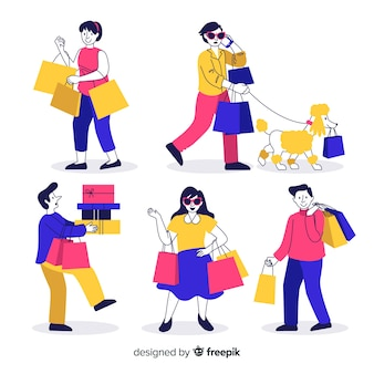 Personnes portant une collection de sacs